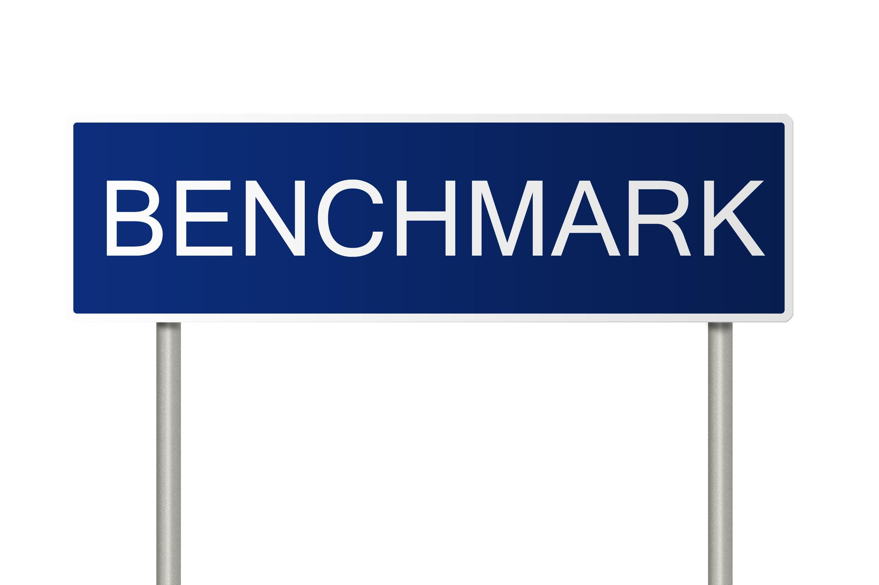 Benchmark bord blauw