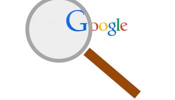 vergrootglas bij Google website