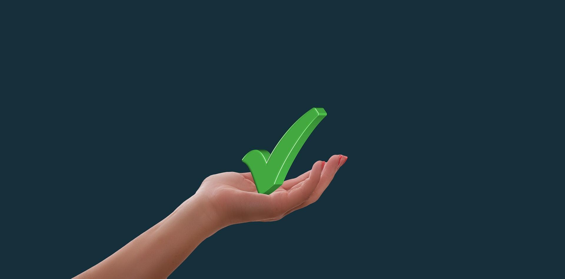 Groen vinkje als symbool voor 'goedgekeurd'