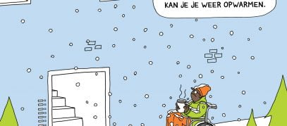 cartoon jongen in rolstoel in sneeuw