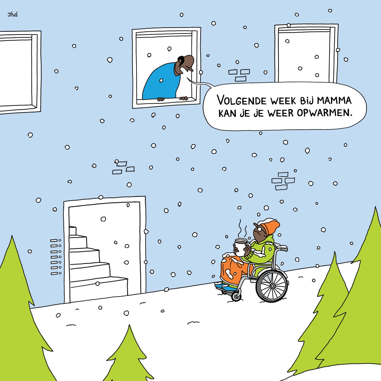 cartoon jongen in rolstoel in sneeuw